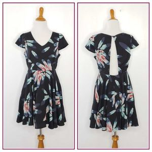 Alice Moon Feather Print Fit & Flare Cut Out Dress